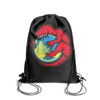Wholesale black skull print backpack for sale - Group buy Drawstring Sports Backpack Raptors defeat the Warriorspopular daily Travel Beach Pull String Backpack