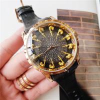 relógio de couro masculino da correia venda por atacado-Cavaleiros da Távola Redonda Moda Mens Relógio de Luxo 44mm Relógios de Grife de Aço Inoxidável Movimento de Quartzo Pulseira de Couro Relógio de Esporte Masculino