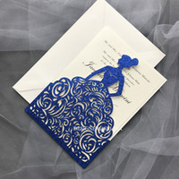 Wholesale cards birthday printable for sale - Group buy Glitter Wedding Invitations Blue Sprinkle Laser Cut Princess Invitation Cards for Quinceanera XV Birthday Printable Hollow Wedding Invites