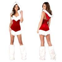 hoodie de poliéster sem mangas venda por atacado-Frete Grátis New lingerie sexy cosplay sexy moletom com capuz sem mangas halter clássico Natal desempenho de palco roupas traje de Natal vermelho