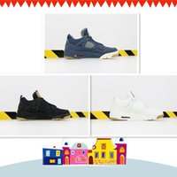 erkekler beyaz kot ücretsiz gönderim toptan satış-Kalite 4 4s Denim Travis Mavi Basketbol ayakkabı erkekler Mavi Siyah Beyaz Denim Jeans Spor Sneakers Yeni ücretsiz gönderim