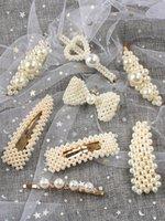 neue trendige haarzusätze großhandel-2019 Korean Ins Perle Haarspange Barrettes Temperament Mädchen Mode Elegante Haarnadeln Haarschmuck Trendy Stil Ornament Frauen Schmuck Neu