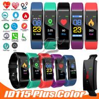 bilek spor band izle seyretme toptan satış-YENI ID115 artı Akıllı Bilek Bandı Renkli Ekran Spor Kalp Hızı Kan Basıncı Pedometre IOS Android Için Spor Bileklik Akıllı Izle