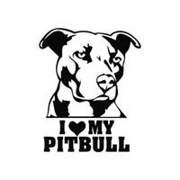 amor do carro adesivos venda por atacado-4pcs Eu amo meu cão Pitbull etiqueta do carro janela Vinyl Decal Truck Auto Decoração Para Garrafa Laptop Car água etc.