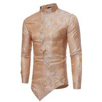 camisa mandarina de hombre al por mayor-Camisa de los hombres Blusa camiseta superior Estampado floral Botón camisa de manga larga camisas de hombres Vintage Casual ropa para hombre camisa masculina