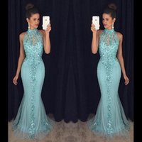 Wholesale royal blue prom dresses for sale - 2019 Mint Green Prom Dresses Mermaid Luxury Sequin Keyhole Neck Floor Length Chiffon Backless Formal Evening Dress Party Gowns Custom Made