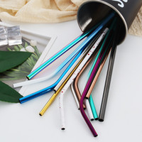 Wholesale painting drinks for sale - Group buy Stainless Steel Colored Drinking Straws mmx6mm Creative Reusable Drinking Straws Colors Paint on Straw colors MMA1936