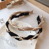 accesorios de la venda de la perla al por mayor-Moda perlas de lujo Rhinestone del pelo del aro diadema Hairband para mujeres niñas gasa banda de pelo accesorios para el cabello