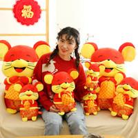 muñecas tang al por mayor-Año chino de la rata de la mascota del ratón de muñecas lindo Tang paquete de Fortuna ratón de felpa juguetes celebración de las fiestas regalos actividades de bienestar