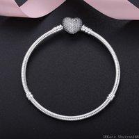 avrupa boncuk gümüşü toptan satış-925 Gümüş Kadın Erkek Noel Hediye Kübik Zirkon Kalp Charm Bilezikler Fit Pandora Avrupa Boncuk Bildirimi Takı Bileklik Plakalı