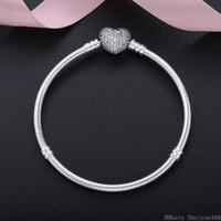 Wholesale fits bracelet for sale - Group buy 925 Silver Plated Cubic Zircon Heart Charm Bracelets Fit Pandora European Bead Statement Jewelry Bangle for Women Men Christmas Gift