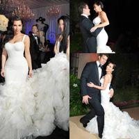 Wholesale kim kardashian wedding dresses resale online - Luxury Kim Kardashian Mermaid Wedding Dresses Sexy Straps Organza Ruffle Skirt Long Chapel Train Formal Trumpet Bridal Gowns Custom Made