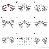 nuevas pegatinas de cristales al por mayor-Bikini Decoración Nueva Llegada! Tatuaje temporal 3D Rhinestone Tattoo Stickers Face Crystal Sticker Festival Party Makeup Glitter