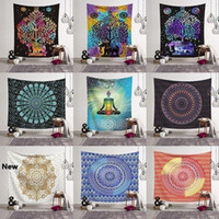 Wholesale beach towels resale online - 14 Styles Bohemian Mandala Tapestry Beach Towel Shawl Printed Yoga Mats Polyester Bath Towel Home Decoration Outdoor Pads CCA11526