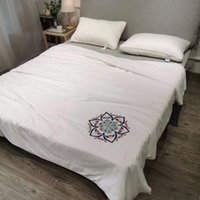 Wholesale ivory quilt cover resale online - Factory snapped up export quality high end high precision embroidery summer quilt cover