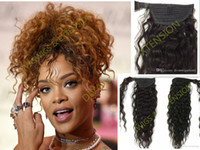 Wholesale black women ponytail extensions resale online - 100 Human hair ponytail afro puff updo Curlyhairstyle for black women natural curly drawstring ponytail hair extension Rihanna ponytail g
