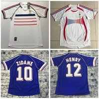 Wholesale jersey soccer world cup france resale online - MAILLOT DE FOOT Soccer Jersey Retro France World Cup camiseta de futbol Football jerseys VINTAGE ZIDANE HENRY home away Jersey