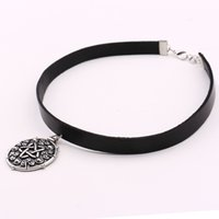 Wholesale game jewelry resale online - Yennefer Medallion Pendant Black Leather Choker Necklace Wizard Wild Hunt Game Cosplay Gothic Necklace Women Jewelry