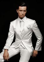 elfenbein tuxedos männer zum verkauf großhandel-Classic Ivory Bright Satin Stoff Hochzeit Bräutigam passt drei Stücke (Blazer + Hose + Weste) formale Bankett Herrenanzüge zum Verkauf