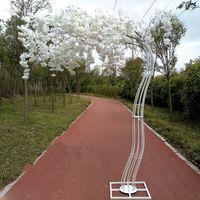 ingrosso alberi di ciliegio per il matrimonio-2.6M White Cherry Blossom Tree Roman Column road lead Simulazione Cherry Flower con Iron Arch Frame per Wedding Party Puntelli
