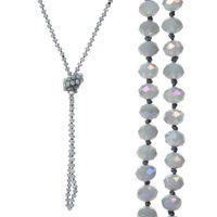 perlen handgemachte aussage halskette großhandel-8mm langer Strang geknotete facettierte Glasperlen-Halsketten Sparkly Handmade Multi Layer-Strang-Statement-Halsketten mit Knoten zwischen jeder Perle