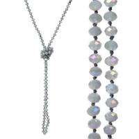 long perlé achat en gros de-Colliers de perles de verre à facettes noué à la main de 8 mm de long