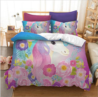 Wholesale unicorn bedding sets resale online - Unicorn Luxury Bedding Set Duvet Girls Bed Cover Set King Size Kids Room Back to School Duvet Cover Pillowcase Sets Xmas Gift