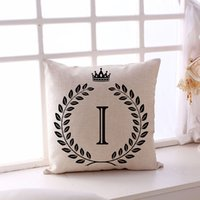 Wholesale english decor resale online - Single sided English Letters Printing Sofa Pillow Case cm Linen Home Decor A Z Letter Pillowcase Coffee Shop Pillow Cover DH0884 T03