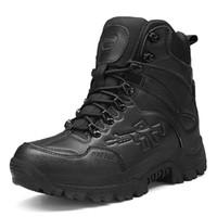 askeri çöl ayak bileği çizmesi toptan satış-Çöl Askeri Taktik Çizmeler Erkekler Ordu Açık Yürüyüş Boot Kış Erkekler Moda Rahat Ayakkabılar Rahat Ayak Bileği Kar Botları