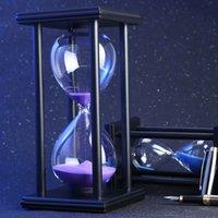 relojes de arena al por mayor-30/60 minutos de reloj de arena temporizador de cocina Escuela Moderna horas de madera de cristal Reloj de Arena Arena Reloj de té Temporizador de la decoración del hogar Q190617 regalo
