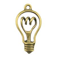 kolye lambası yapmak toptan satış-50 adet Charm Ampul Vintage Ampul Charms Kolye Takı Yapımı Için Antik Bronz Renk Ampul Charms 17x32mm