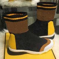 ingrosso stivali mens mid top-Nuovi stivali da ginnastica in tessuto Scarpe da donna in pelle di moda di lusso Calze da uomo Scarpe da ginnastica per uomo High Top Flat Mid Calf Designer Sneakers LL36