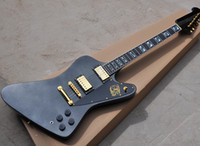 Wholesale inlaid guitar fretboard resale online - New arrival Black Metallic Electric Guitar with Gold Hardwares Ebony Fretboard with Abalone Inlay offering customized services
