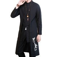 ropa china para hombres al por mayor-# 4008 Straight Cotton Linen Trench Coat Men Plus Size Collar Mandarín Bordado Vintage Ropa de Estilo Chino Falso de dos piezas
