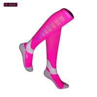 Wholesale r socks resale online - R BAO Pair High Quality Professional Cycling Socks Men Marathon Sports Night Reflective Running Sock Long Compression Socks