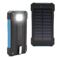 banco de potencia cargador portátil venta al por mayor-Venta caliente Banco de energía solar Banco de energía dual USB con luz LED 20000 mAh batería de batería impermeable cargador externo portátil