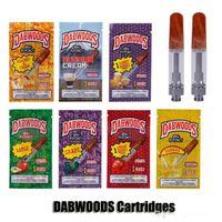 tropfpatronen großhandel-DABWOODS Carts 0.8ml 1.0ml TH105 TH205 Keramikspule Holztropfspitze 510 Dickölpatrone Vape Tank 7 Geschmacksverpackung