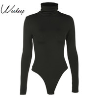 ingrosso bodysuits sexy nero per le donne-Donna Nero Manica Lunga Tuta Autunno Inverno Dolcevita Tute Da Donna Sexy Aderente Vita Alta Pagliaccetto Corpo Femee T3190603
