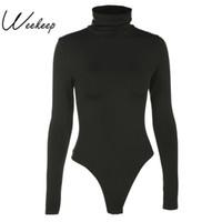 bayan bodycon bodysuit toptan satış-Kadınlar Siyah Uzun Kollu Bodysuit Sonbahar Kış Balıkçı Yaka Bodysuits Womens Seksi Bodycon Yüksek Bel Romper Vücut Femee T3190603