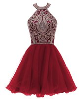 Wholesale junior girl yellow dress resale online - Juniors Short Prom Dresses Halter Homecoming Sequins Beaded A Line Girls Graduation Prom Cocktail Birthday Party Dresses