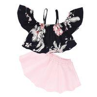 bebek kızı siyah etek toptan satış-Kız Çiçek Suit Bebek Çocuk Giysileri Ceket Kısa Etek Iki Parçalı Takım Sling A-Line Etek Siyah Yay Elbise Çiçek 28