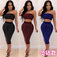 c63aba882787 K8730 fashion ladies Europe and the United States sexy wrapped chest hot  drilling Slim bag hip skirt night shop wind two-piece