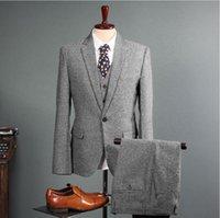 damadın ustalığı toptan satış-Erkek Düğün Smokin Vintage Tüvit 3 Parça Suits 2019 Fleck Düğme Yün Gri Özel Fit Damat Giyim (Ceket + Pantolon + Yelek)