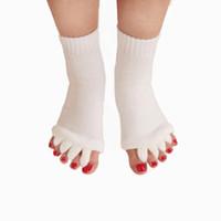 счастливые ноги оптовых-Йога Массаж Носки Здравоохранение Носки Пять Пяток Спорт Фитнес Танец Пальцы Сепаратор Удобные Носки Спальные Носки Счастливые ноги DHL FREE