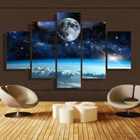 ingrosso set di tela di pittura ad olio-5pcs / set Unframed Luna e Star Universe pittura di paesaggio olio su tela di arte della parete pittura di illustrazioni per la decorazione del salone