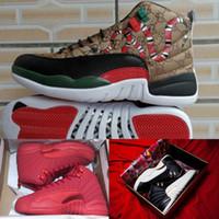neue jahre schuhe großhandel-Chinesische Basketball-Schuhe des neuen Jahres 12 für Mensentwurfsschuhe schwarze athletische Turnschuhe CNY-Turnschuhe CNY 12S OVO Sportschuhgröße: 40-46