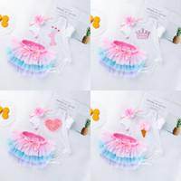 dondurma etekleri toptan satış-Katı Tulumlar Tricolor Etek Çiçek Saç Bandı Kısa Kollu Mektup Yay Elastik Bant Taç Kalp dondurma Koni 23