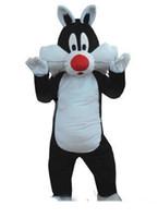 traje do gato do dia das bruxas venda por atacado-Sylvester gato traje da mascote para animal adulto grande preto com branco festa de Halloween Purim
