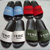 sandalias de goma para mujer al por mayor-Diseñador de diapositivas chanclas zapatillas sandalias de mujer para hombres mujer goma Unisex playa suela París zapatillas mulas planas sandalias zapatos