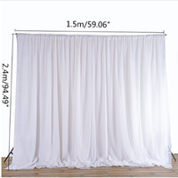 Wholesale draping backdrops online - White Sheer Silk Cloth Drapes Panels Hanging Curtains Photo Backdrop Wedding Party Events DIY Decoration Textiles x1 M
